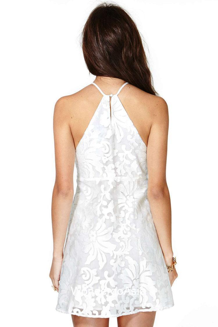 Lace embroidery spaghetti straps dress images