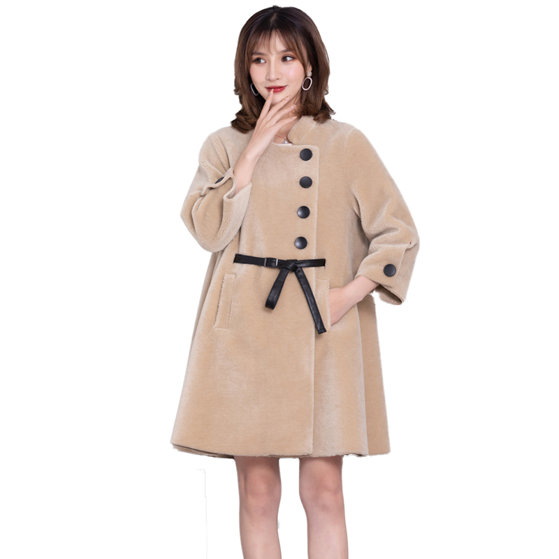 Women 2019 Winter Real Sheep Shearling Coats Female Stand Collar Sheepskin Wool Coats Ladies Casual Warm Lambswool Overcoat V639