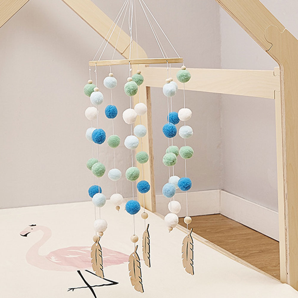 Wooden Kids Room Wind Chimes Felt Ball Baby Nursery Bed Hanging Photo Props Beautiful Craft Handmade Decoration in Bumpers from Mother Kids