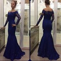 Vestidos de baile de manga longa azul royal evening dress mermaid new árabe apliques laço de cetim importado vestidos de véspera de ano novo partido