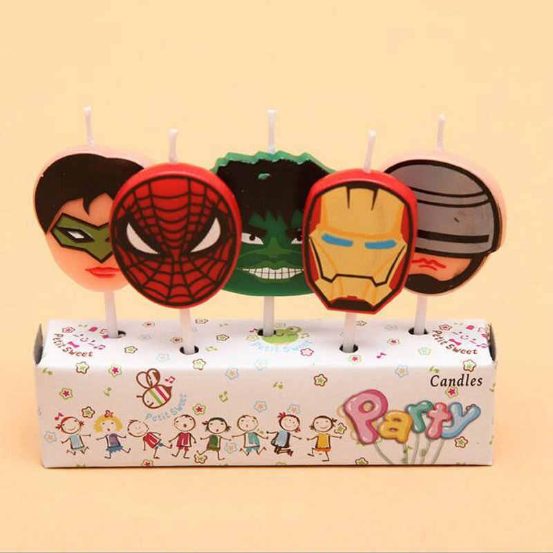 5 pcs Homem De Ferro Homem Aranha Tigre Ônibus Mickey Velas Do Bolo de Aniversário Dos Desenhos Animados Do Bebê Fontes Do Partido de Aniversário Dos Miúdos Decorações Do Partido DIY