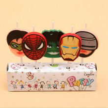 5pcs Iron Man Spiderman Tiger Bus Mickey Party Supplies Kids Birthday Candles Cake Birthday Cartoon Baby Party Decorations DIY(China)