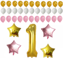 First Birthday Decoration Pink White Gold Balloons for 1st Baby Girl or Boy Number One 1 Latex balloons birthday party supplies