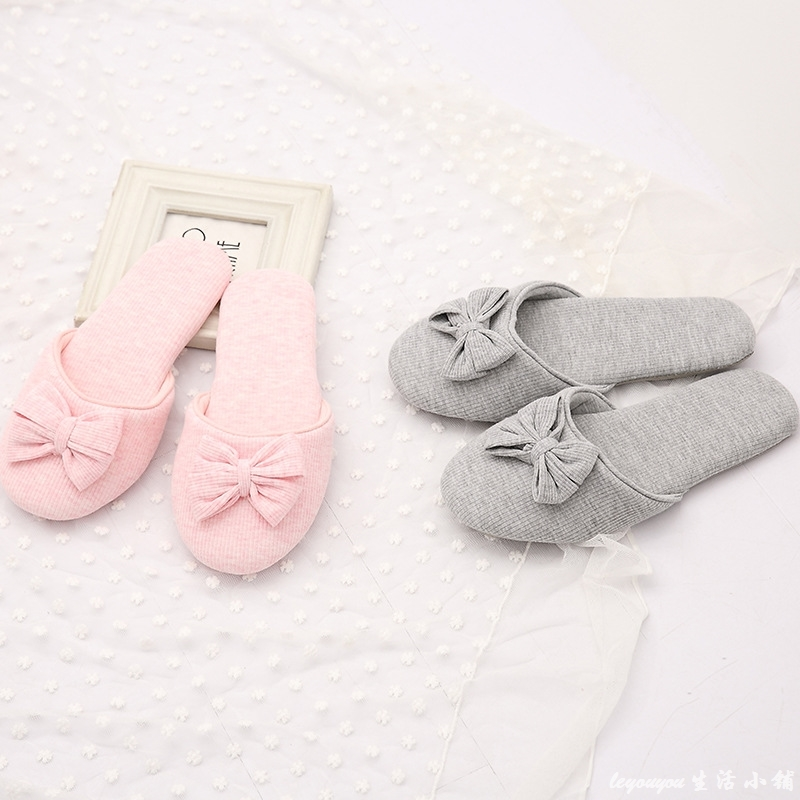 Gktinoo lovely bowtie winter women home slippers for indoor bedroom house soft bottom cotton warm shoes adult guests flats