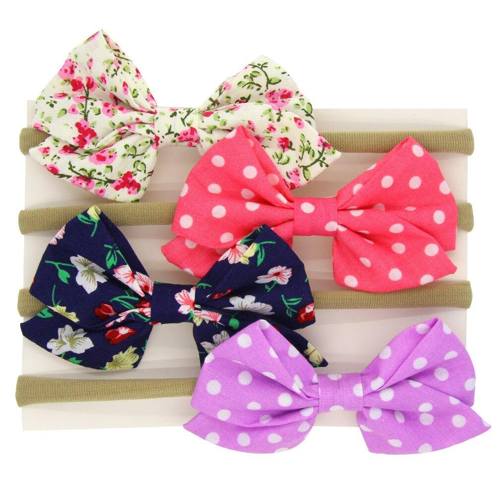 Ha hair bow ribbon wholesale - 20 Pcs Lot Floral Hair Bow Nylon Headband Hand Tied Fabric Bow Headband
