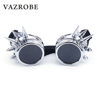Vazrobe Spikes Steampunk Glasses Men Women Vintage Round Steam Punk Sunglasses Circle Metal Rivet Party Goggles