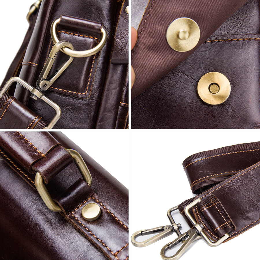 CONTACT'S Brand Design Genuine Leather Shoulder Bag Men Crossbody Messenger Bags Vintage Men's Handbag Bolsos Male For 9.7 4