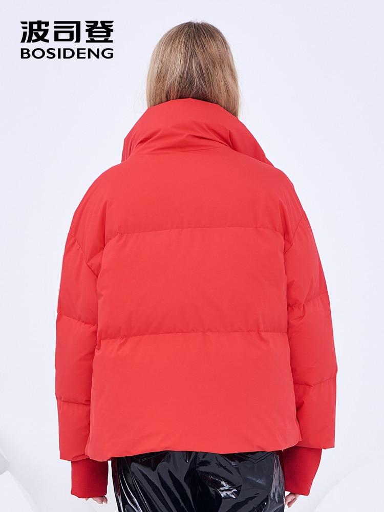 BOSIDENG ผู้หญิง 2018 ฤดูหนาวใหม่เป็ดลงเสื้อสุภาพสตรีแฟชั่น thicken down coat stand collar outerwear สั้น B80142582DS-ใน เสื้อโค้ทดาวน์ จาก เสื้อผ้าสตรี บน   3