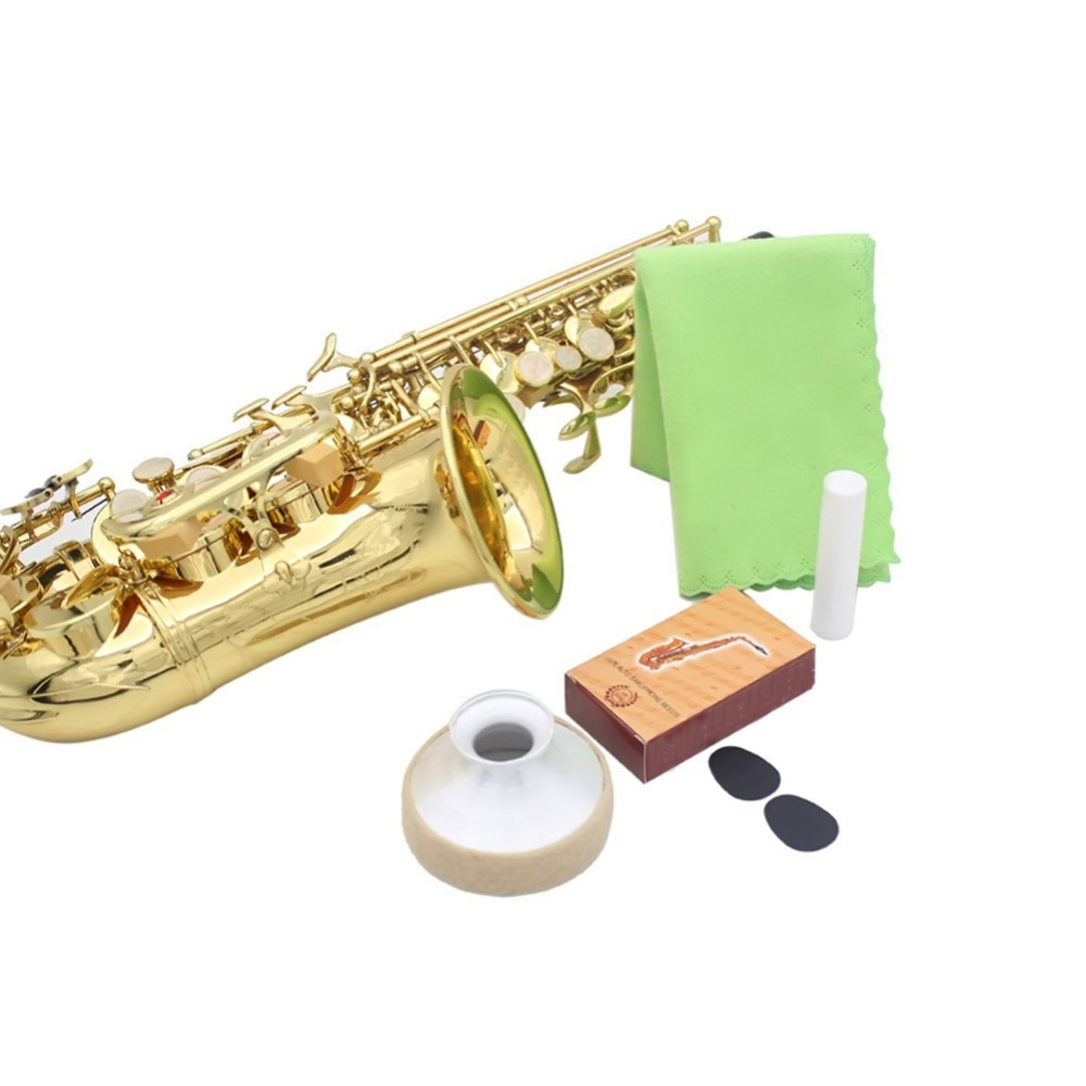 5-in-1 Alto Saxophone BE Aluminum Alloy Bamboo Reed Mouthpiece Patch Cork Grease Cleaning Cloth Accessories Kit