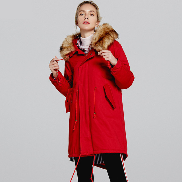 ZYSK 2018 Winter Women Parkas Jacket Coat Fur Collar Hooded Zipper Thick Warm Outerwear Parka Female Clothes Loose Plus Size XXL