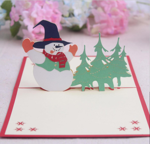 10pcs 3d christmas snowmantree handmade kirigami origami for merry 10pcs 3d christmas snowmantree handmade kirigami origami for merry christmas party invitation cards greeding stopboris Image collections