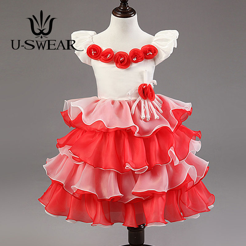 U-SWEAR 2019 New Arrival Kid   Flower     Girl     Dresses   Sweatheart Short Sleeve   Flower   Appliqued Ruffles Ball Gown Pageant   Dress