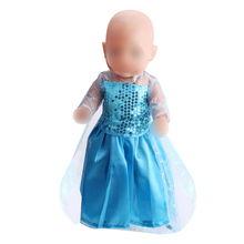 Dolls clothes princess Aishas blue sequined lace dress Baby toys fit 43 cm baby doll and American 18 inch Girls f79-f80