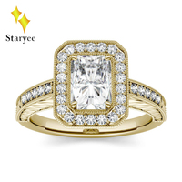 Moissanite кольцо 1.2ct DEF VVS Роскошные Moissanite обручальное кольцо со светлым окаймлением 14 к 585 желтого золота Свадебный комплект ювелирные изделия д...