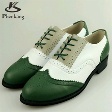 Genuine leather big woman US size 11 designer vintage flat shoes round toe handmade green white grey oxford shoes for women fur
