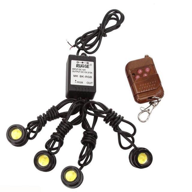 1 Set Top Quality 4in1 12V Hawkeye LED Car Emergency Strobe Lights DRL Wireless Remote Control Car-Styling Nov 15