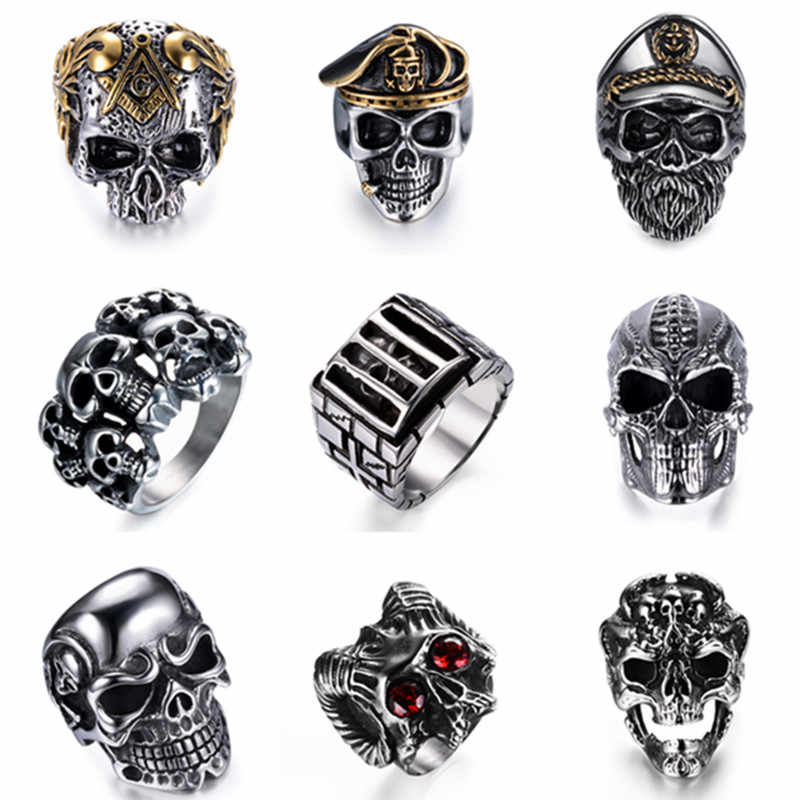 Men Stainless Steel Ring High Quality Gothic Punk Rings Hip Hop Skull Rings For Men Party Jewelry Accessories Gift Drop Shipping