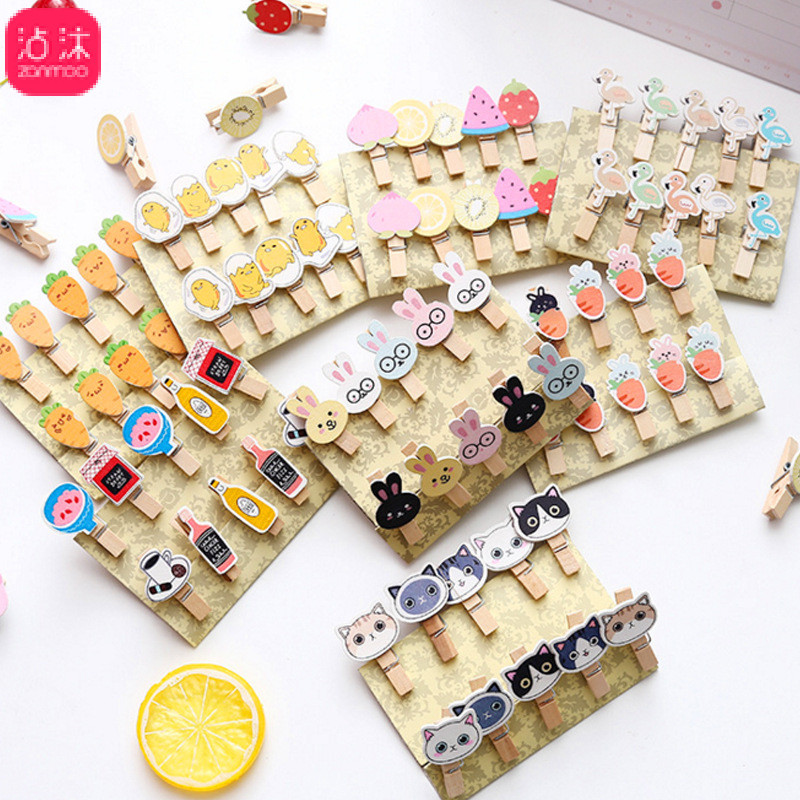 10pcs /set Wood Clips Fruit Cute Kawaii Mini Animal Cat Rabbit Paper Photo Clips For School Office Supplies Wholesale Stationery