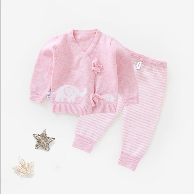 Cardigan 0-6M Infant Baby Clothing Set Newborn Baby Long Sleeve Sweater Set Boys Girls Clothes Set Top+Pants Cotton Belt V-Neck cotton baby rompers set newborn clothes baby clothing boys girls cartoon jumpsuits long sleeve overalls coveralls autumn winter
