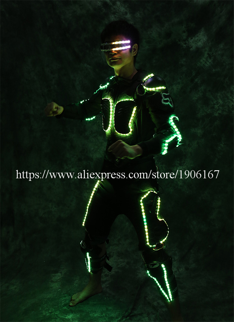 New Arrival Fashion LED Armor Light Up Jackets Costume Glove Glasses Led Outfit Clothes Led Suit For LED Robot suits1
