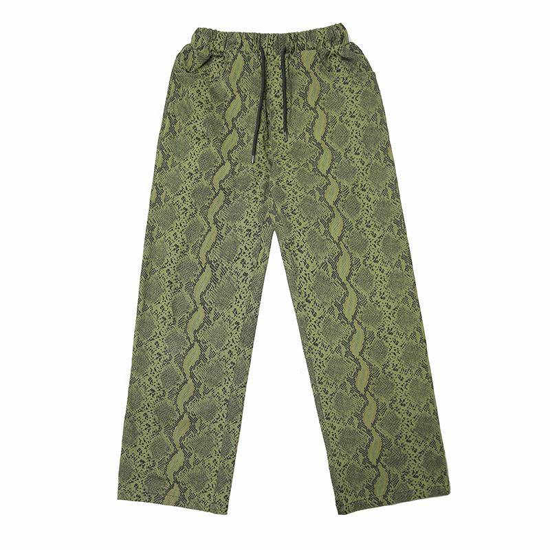 New Women Animal Pattern Trouser Casual Snake Skin Printed Harem Pants Elastic Pleated Female Casual Ankle Length Trousers Girls