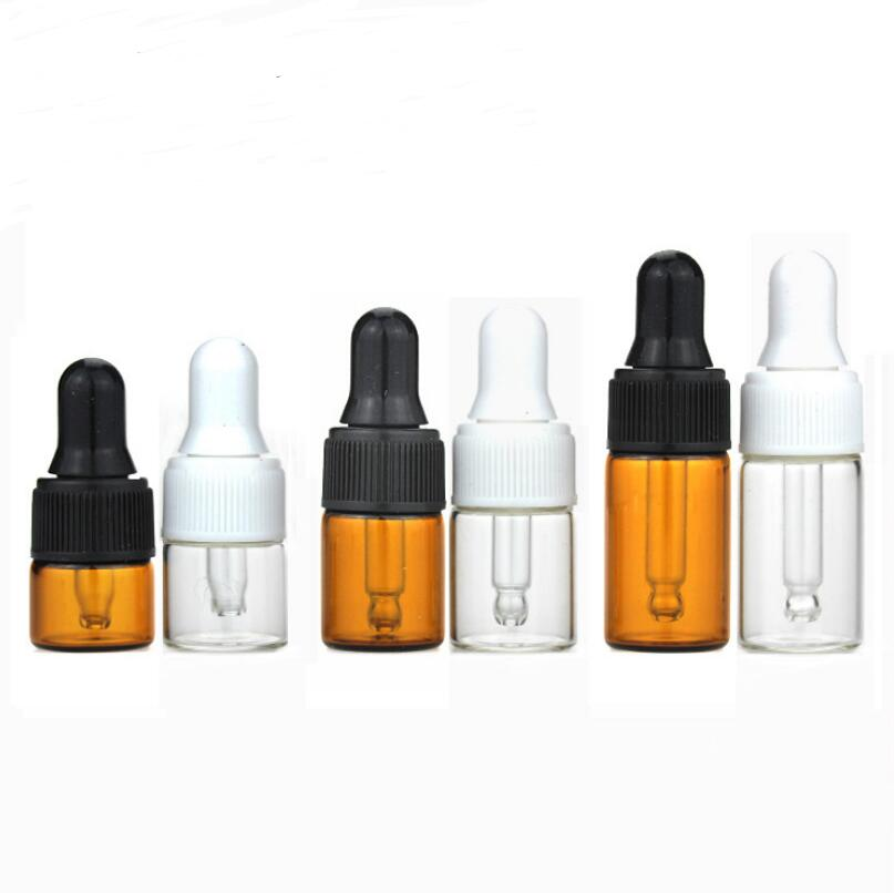 <font><b>2</b></font> <font><b>3</b></font> <font><b>5</b></font> ML Mini Amber Glass Essential Oil Dropper Bottles Refillable Empty Cosmetic Liquid Lotion Sample Container LX3998 image