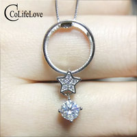 CoLife Jewelry 925 Star Pendant with Moissanite 0.5ctVVS Moissanite Silver Necklace Pendant Sterling Silver Moissanite Jewelry