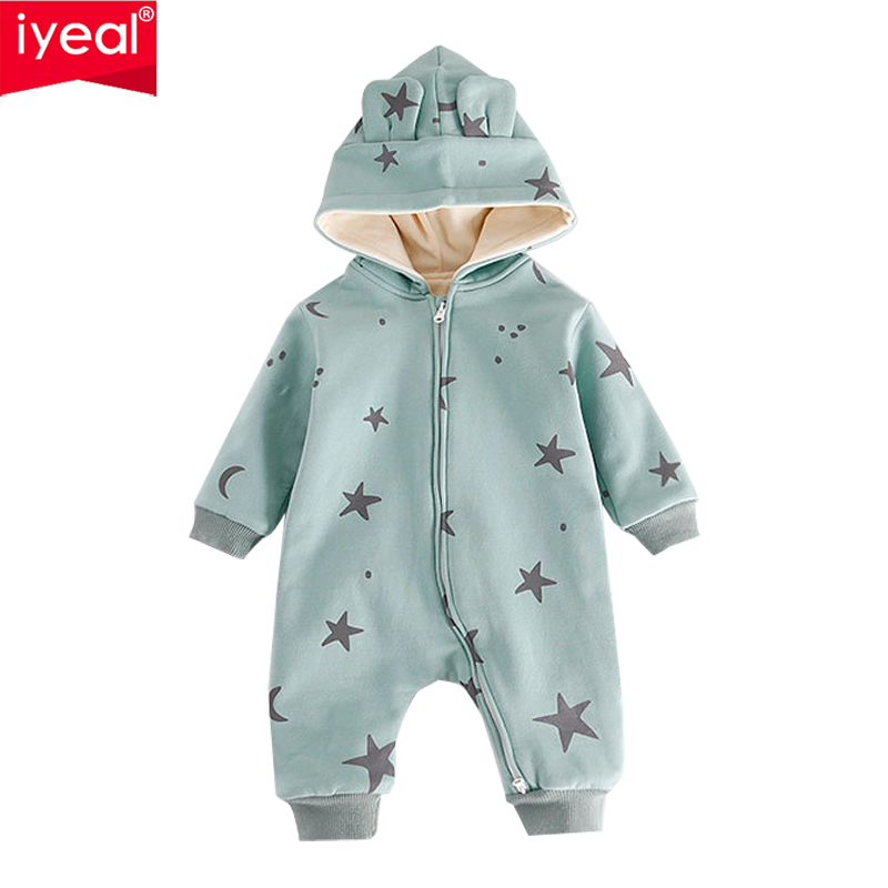 IYEAL 2018 New Fashion Newborn Baby Romper Hooded Star and Moon Pattern Long Sleeve Baby Boy Girl Clothes Kids Infant Jumpsuit 3pcs set newborn infant baby boy girl clothes 2017 summer short sleeve leopard floral romper bodysuit headband shoes outfits