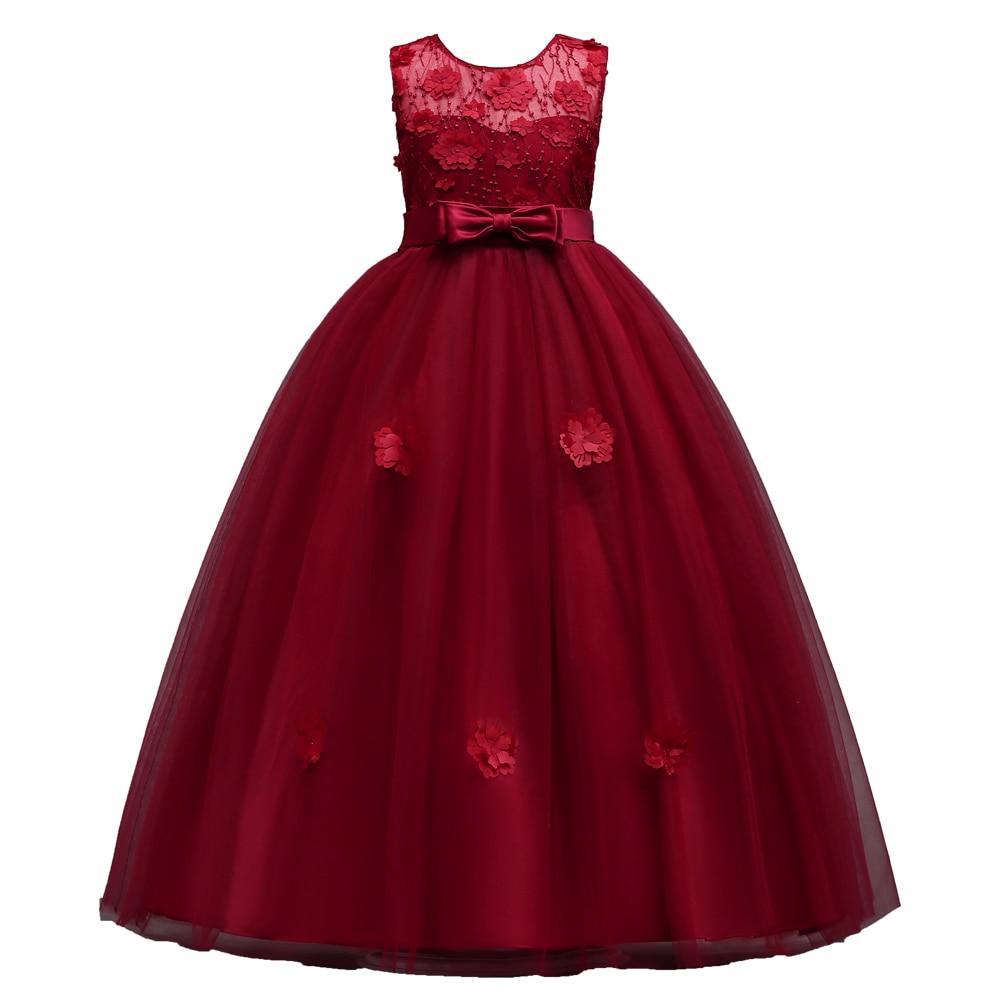 Glitz Royal Blue Red Princess Children Flower Girl Dresses for Weddings Kid Girls Party Pageant Long Elegant Dress for Girls