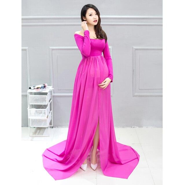 b5c8e2c3e8a Maternity Dress for Photo Shoot Long Sleeve Maternity Gown Split Front  Maternity Gown Maxi Pregnant Dresses for photo shoot