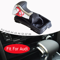 For Audi A4 A5 A6 Q5 Q7 B8 New Car Accessories Gear Shift Lever Knob Shifter AT With Black Leathe Gaiter Boot Cover Case