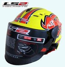 Free shipping authentic LS2 OF100 motorcycle helmet helmet half helmet wear lenses Seasons / Yellow / real life
