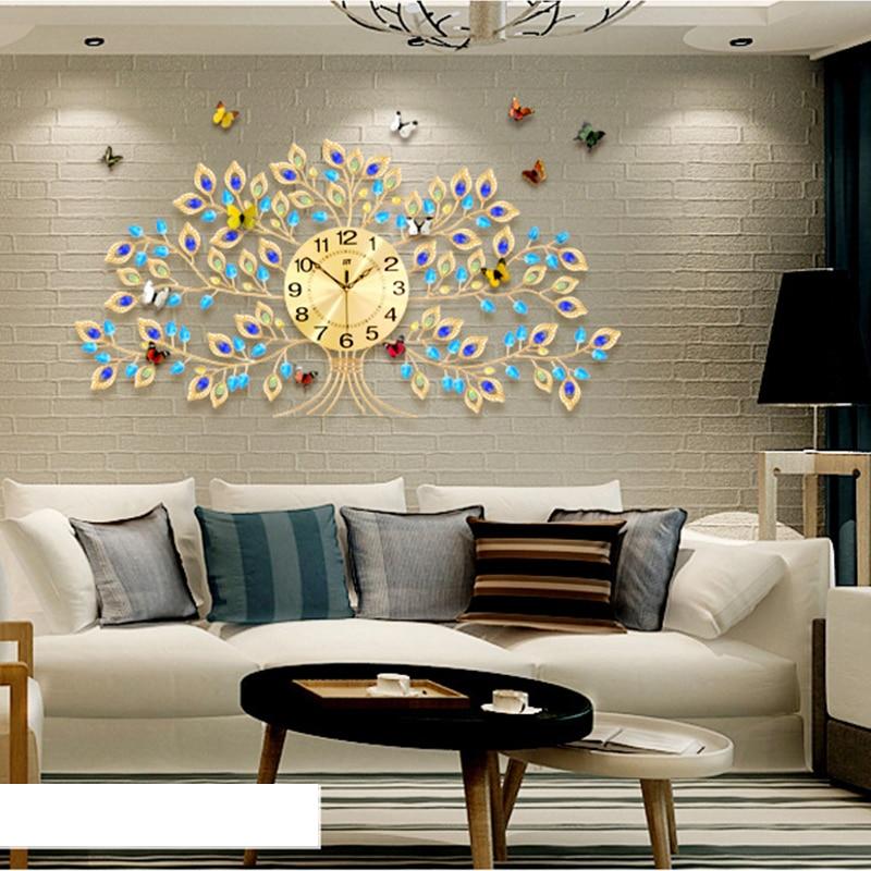 Ретро большие настенные часы современный Дизайн немой кристалл дерево часы настенные Гостиная Спальня столовая настенные часы домашнего д