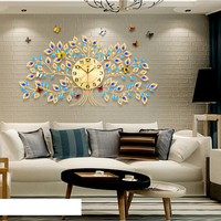 Retro Large Wall Clock Modern Design Mute Crystal Tree Wall Watch Living Room Bedroom Dinning Room Clock Wall Home Decor