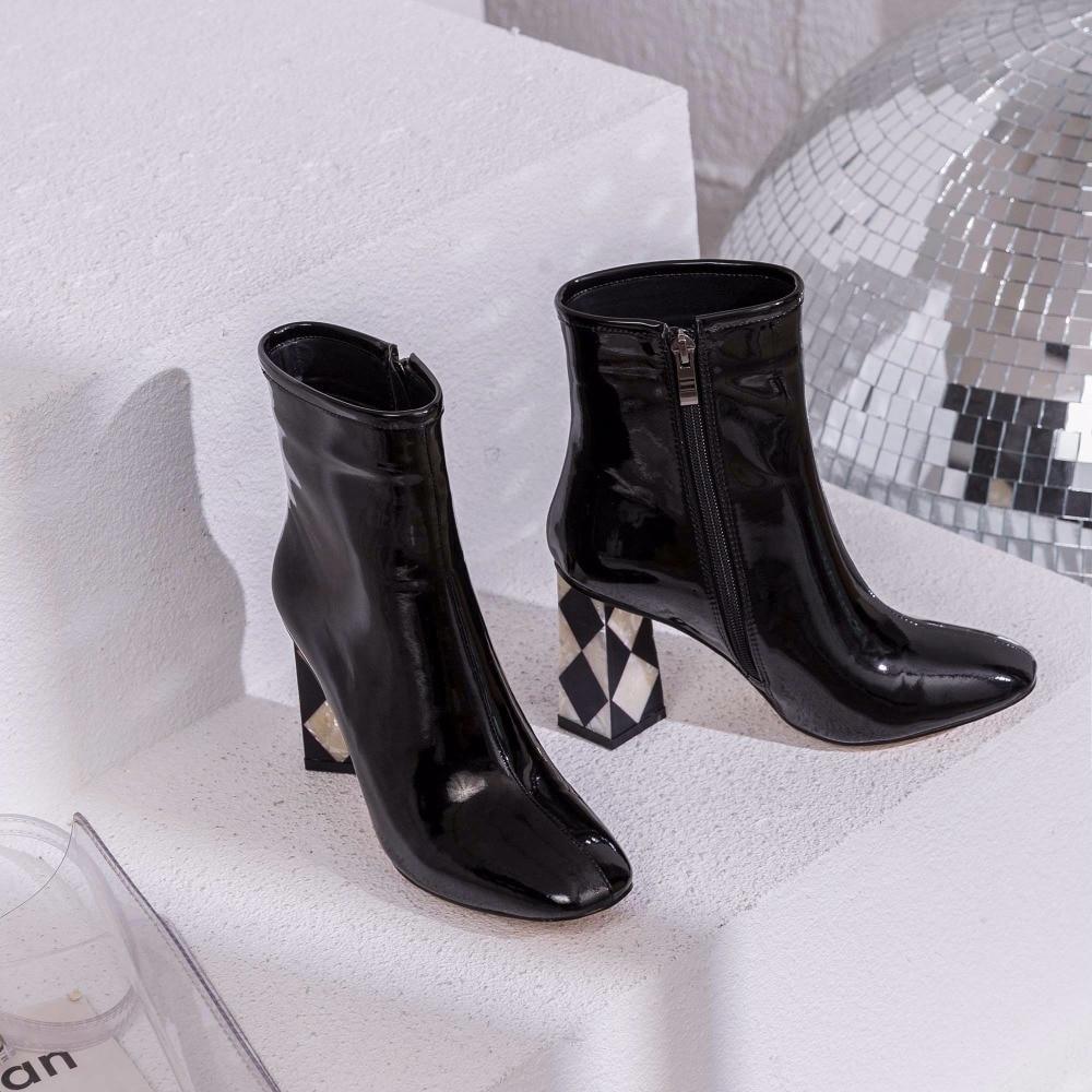 Cuir Chaussures Talons Femmes Étoiles Fleur Cheville En Pleine Conception Boots Super Carrés Glissière pumps Haute Film Art Bottes Souple L16 Lenkisen Hollywood Orteil cK1l3uTJF