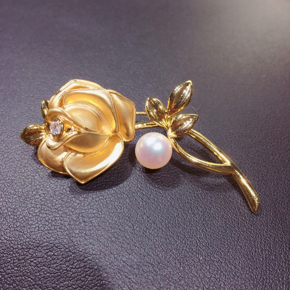 ZHBORUINI 2019 Classic Natural Freshwater Pearl Brooch Copper Frosted Simple Rose Brooch Pearl Jewelry For Women Not Fade Gift in Hair Jewelry Brooches Body Jewelry from Jewelry Accessories