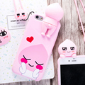 For iPhone 6 6S 7 Plus Kakao Friends Ryan/Apeach/Neo 3D Cartoon Silicone Case with Strap Cute Lovely Fashion Back Cover Capa