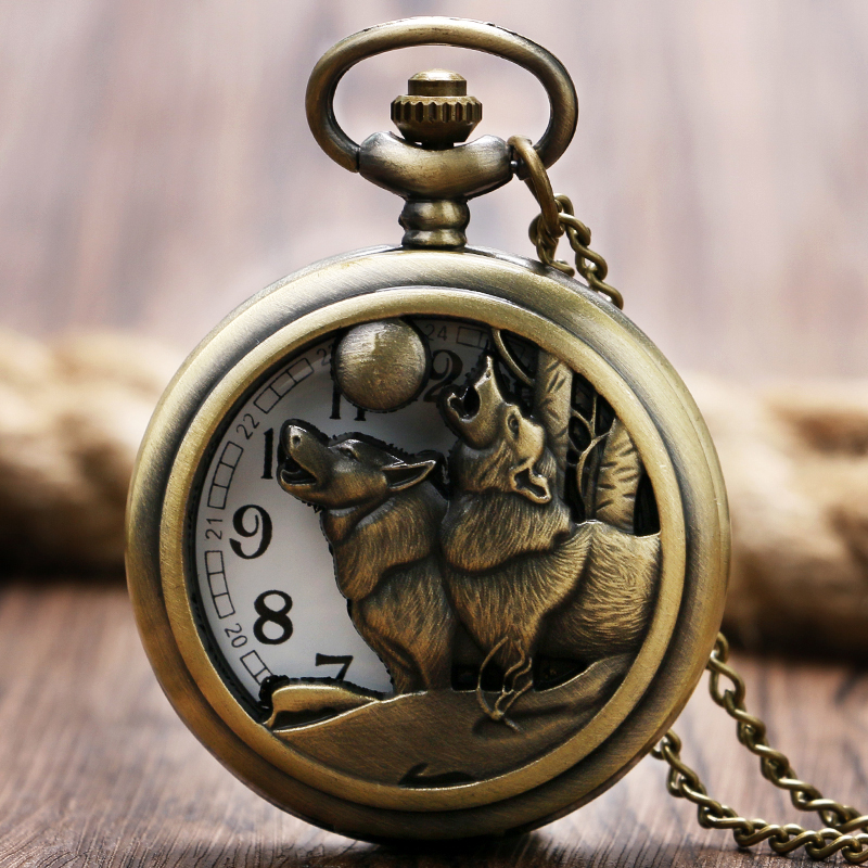 Exquisite 2016 Quartz Pocket Watch Dog Playing Pattern Design Hollow Lovely Gift For Men Women With Necklace Chain