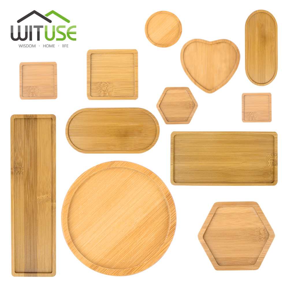 Wituse Promotion Square Round Heart Bamboo Plant Flower Pot Home Office Decor Planter Pots Trays For Green Plant Pots Trays Garden Pots & Planters