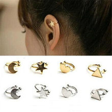 LUSION Metal Star Moon Heart Hoop Earring for Woman Ear clip Fashion Jewelry 1pcs Vintage Ear clip Korean Earrings Gift New(China)