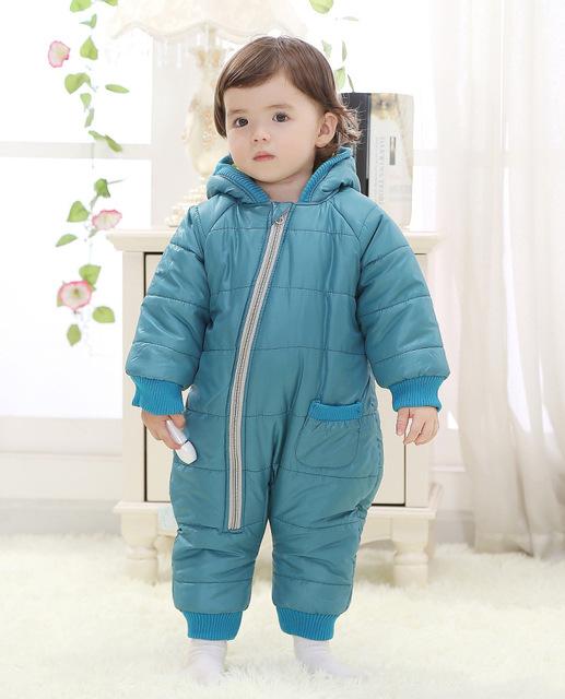 Alta qualidade inverno quente macacão de Bebê com capuz grosso do inverno do bebê roupas de bebê macacão vetement enfant Roupas De Bebe J099