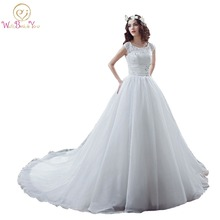 100% Real Images vestido de noiva princesa fotos reales Cathedral Train A-line Organza White\ Ivory Wedding Dresses Bride Gowns