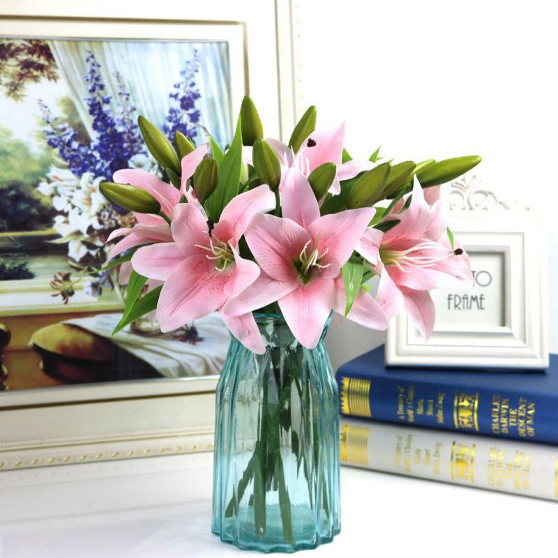 Gefälschte Blume Bouquet Versorgung Simulation Lilie Für Dame Geschenk Künstliche Große Lilie Romantische Blume Lilie Zweig Für Home Shop Decor Haus & Garten Künstliche Und Getrocknete Blumen
