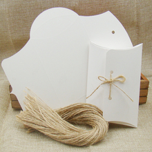 NEW Diy blank white/black/brown pillow display box 50pcs +50pcs string for candy /wedding /event gift stroage paper