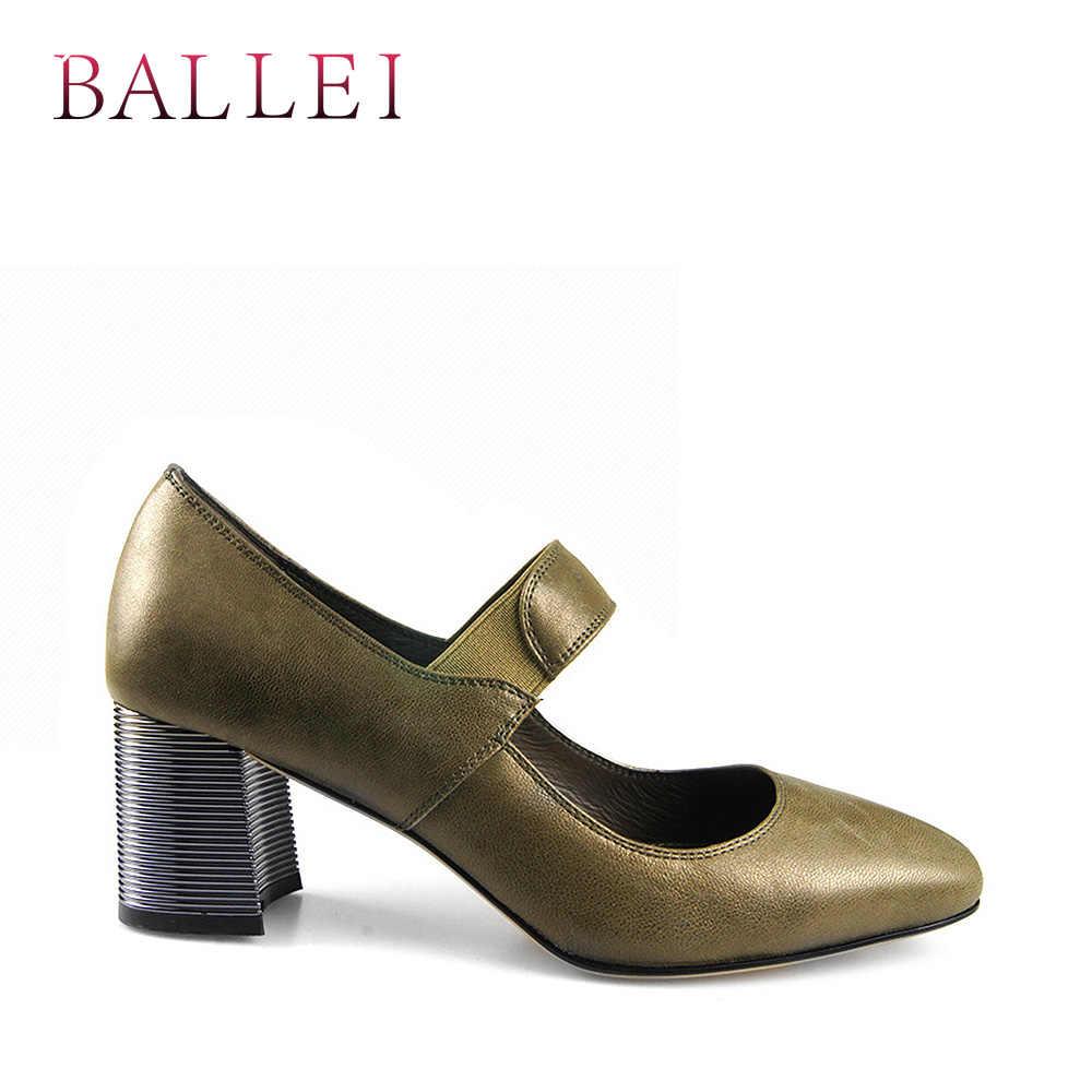 BALLEI Elegante Frau Retro Pumpen Hohe Qualität Patent Leder Runde Te Weiche Hohe Quadratische Heels Schuhe Klassische Dame Mode Pumpe d12