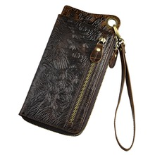 Fashion Male Organizer Leather Design Animal Emboss Checkbook Chain Zipper Pocket Wallet Purse Clutch Phone Sleeve Men