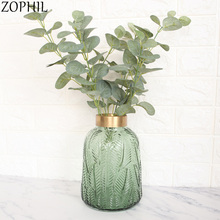 Frost White Plastic Eucalyptus Tree Branch Artificial Plants Home Decor Plant Wall Material Fake Leaves Artificiel