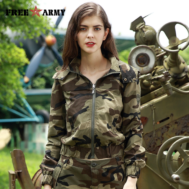 fb1f7ee4a05e0 Free Army Brand Women's Fashion Jacket 2017 Autumn Camouflage Coats Hoodie Ladies  Jacket With Zipper Outerwear Womens Gs-8819C