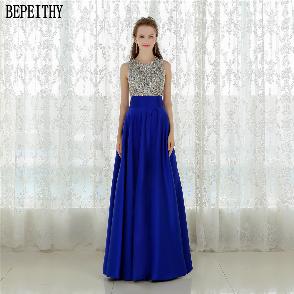 BEPEITHY Vestido Longo Royal Blue Long Evening Dress 2019 Crystal Top Vintage Prom Dresses Robe De Soiree With Pocket