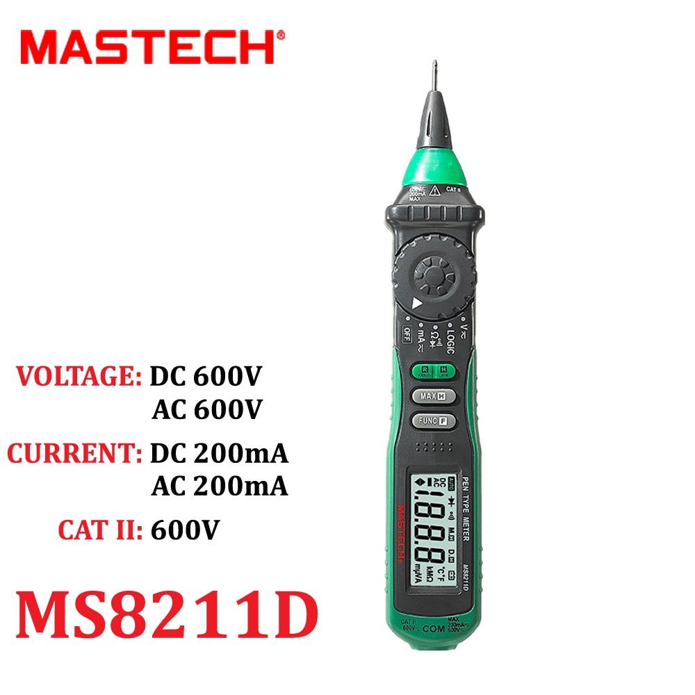 MASTECH MS8211D Pen Type Auto Range Digital Multimeter DMM AC DC Voltage Current Tester Meter Logic Level Test Diagnostic-tool mastech ms8211d pen type digital multimeter manual auto range